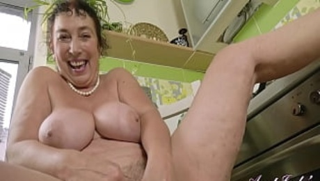AuntJudys - Wild 58yo BUSTY BBW Gypsy GILF Esmerelda MASTURBATES in the Kitchen